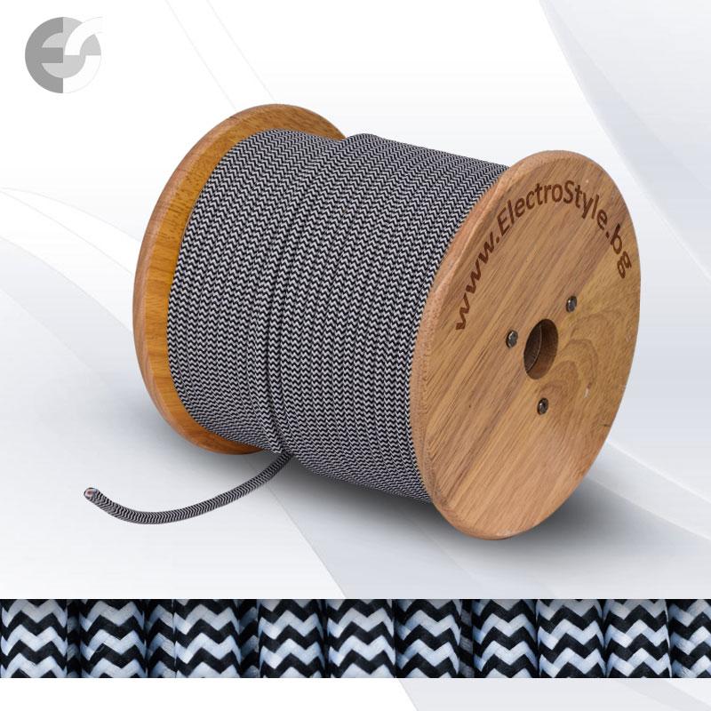Cablu textil impletit alb-negru 2x0.75mm2  0527560