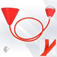 Пендел Cone PVC с ринг фасунга текстилен кабел червен От Електро Стил ООД