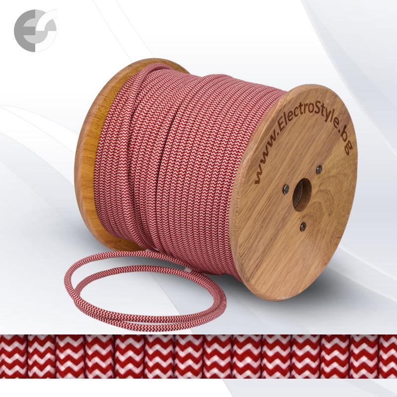 Cablu textil impletit rosu si alb 2x0.75mm2  0527561