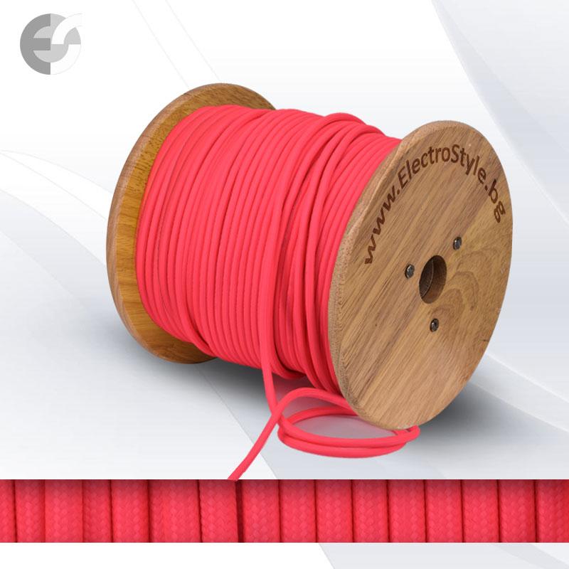 Текстилен кабел 2х0.75мм2 розов - неон