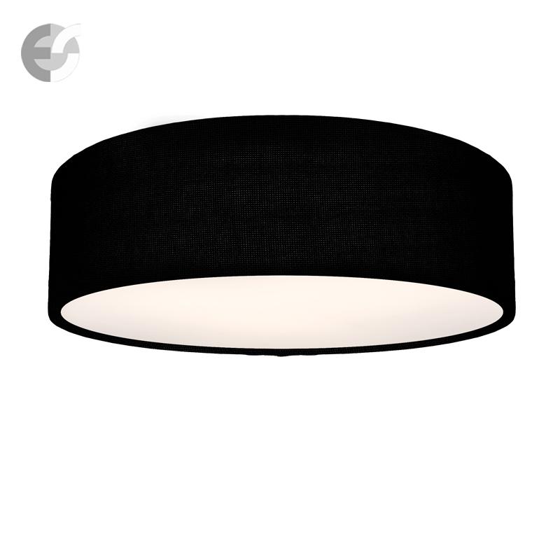 LED Плафон MOON с черен текстилен абажур