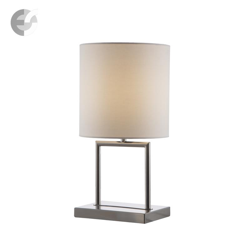 Модерна настолна лампа TALLA с текстилни абажури   матиран хром, бял От Електро Стил ООД