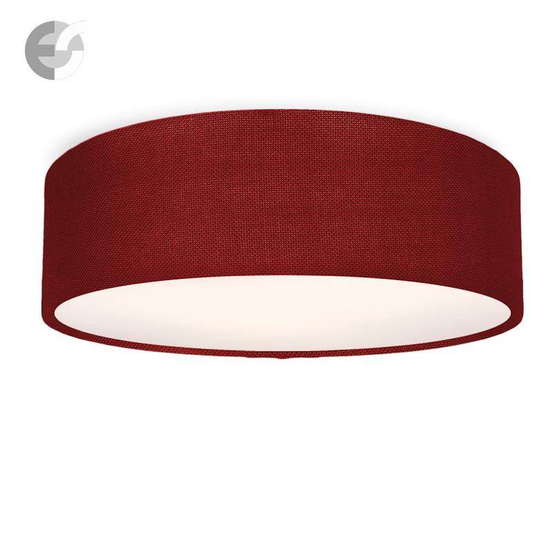 LED Плафон MOON текстилен абажур, тъмно червен, H:15 см