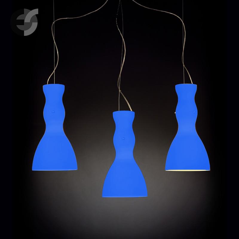 Осветително тяло - Полилей SCHERZO, метал, стъкло, син, хром, Е27