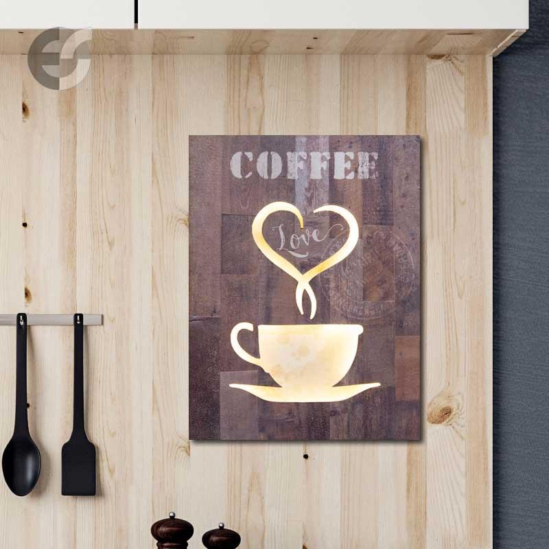 Semn decorativ cu iluminat COFFEE